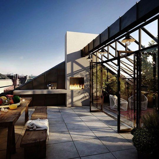 Outdoor Modern Patio with Glass Wall in Stockholm