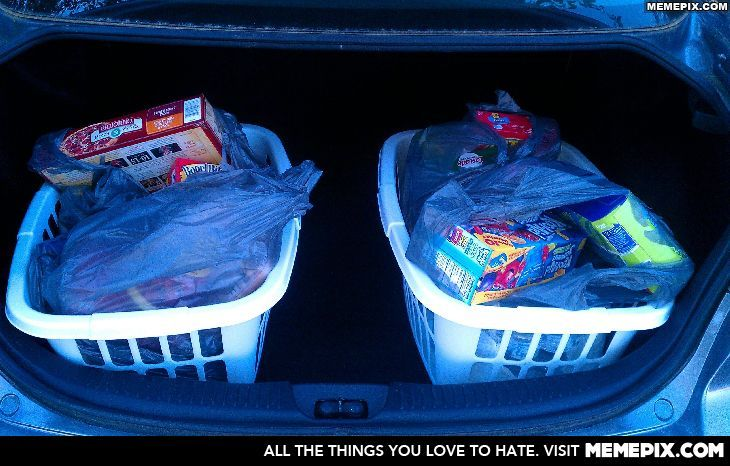 take a laundry basket to the grocery store with you (leave it in the car) to hold your bags and make it easier to carry into the house