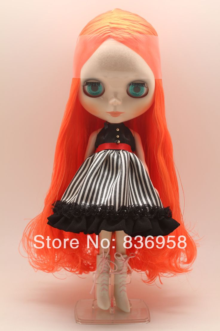 Bright Orange Long Curly Hair Blythe Doll Without Clothes $62.50