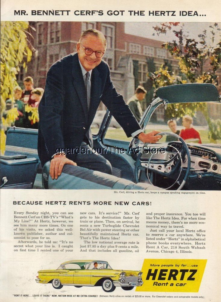 1958 HERTZ CHEVROLET Bel Air Convertible Bennett Cerf ~ What's My Line Photo Ad