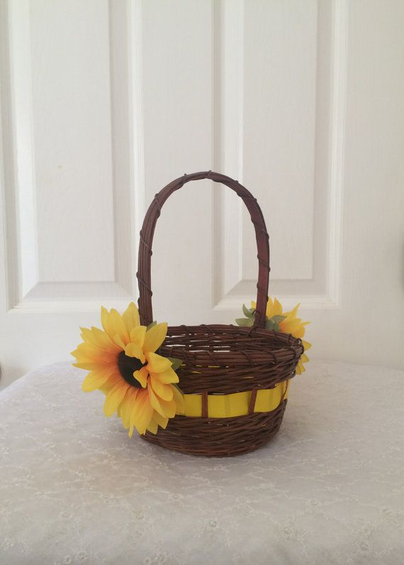Sunflower Wedding, Sunflower Wedding Flower Girl Basket, Sunflower Wedding Vintage Sunflower Flower Girl Basket, Rustic Sunflower Flower Girl