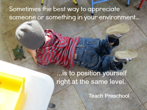 Sometimes the best way to appreciate someone or something in your environment. A #preschool #photo from Deborah of Teach Preschool [http://www.teachpreschool.org]