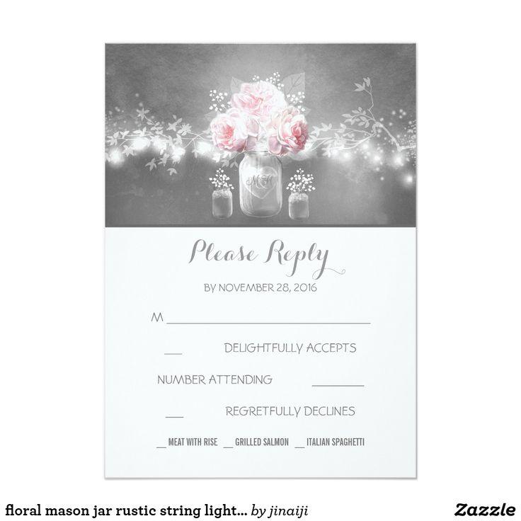 floral mason jar rustic string lights wedding RSVP Card Chalkboard string lights wedding reply cards with mason jar
