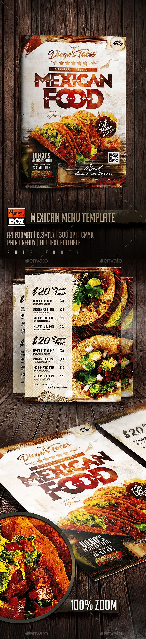 Mexican Menu Template — Photoshop PSD #dinner #street food • Download ➝ https://graphicriver.net/item/mexican-menu-template/18984734?ref=pxcr