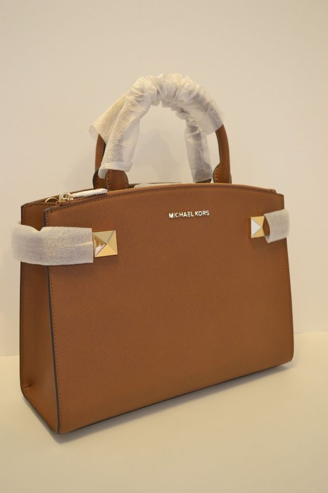 df00e8dd9f09 NWT MICHAEL KORS KARLA MD EW LEATHER SATCHEL in LUGGAGE/BROWN #fashion  #clothing #shoes #accessories #womensbagshandbags ...