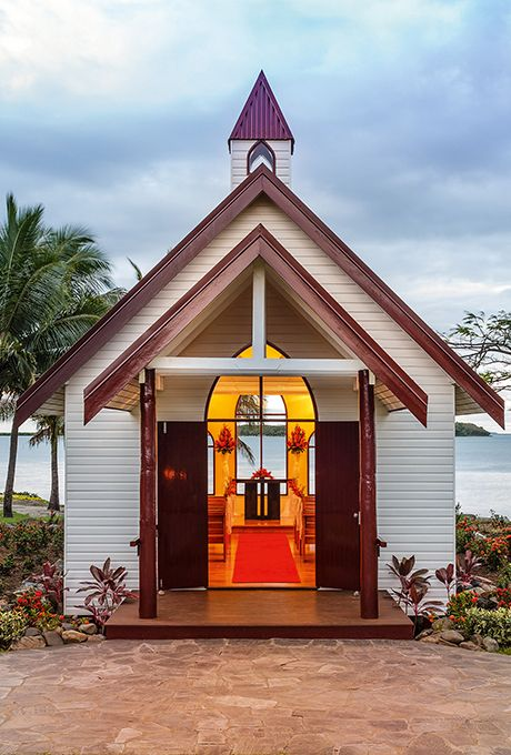 Brides.com: . Sofitel Fiji in Denarau Island, Fiji. Have a religious ceremony, a non-religious ceremony, or a colorful Fijian-style wedding (complete with Fijian musicians and the island's signature frangipani flowers) in this quaint beachside chapel; Sofitel Fiji