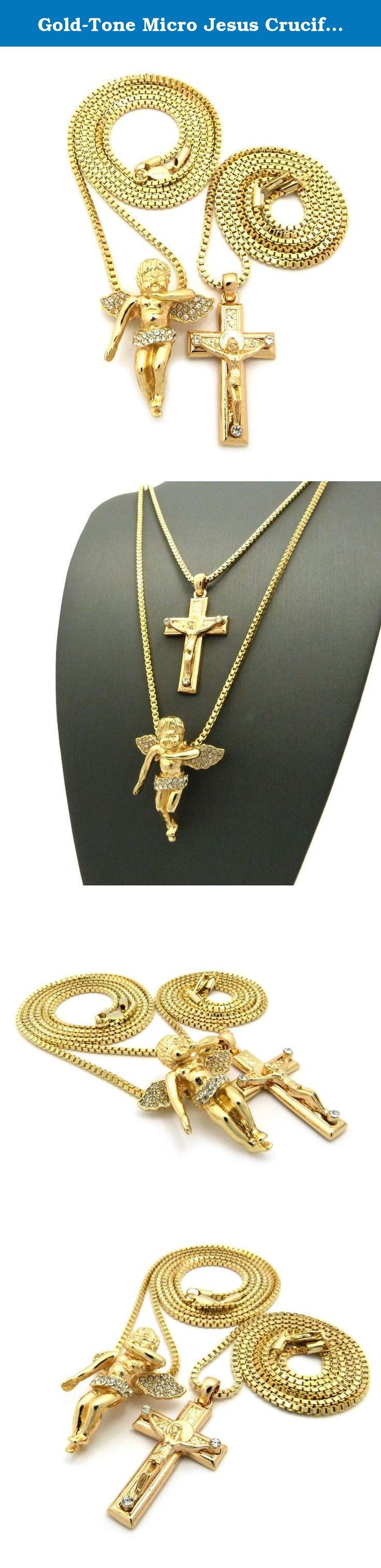 """Gold-Tone Micro Jesus Crucified Cross, Angel Wing Pendant 24"""",30"""" Box Chain 2 Necklace Set RC1041G. Gold-Tone Micro Jesus Crucified Cross, Angel Wing Pendant 24"""",30"""" Box Chain 2 Necklace Set."""