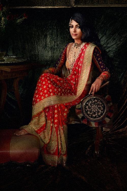 #KnotsAndHearts || #WeLove || Ritu Kumar sari. Crimson the color so gorgeous.