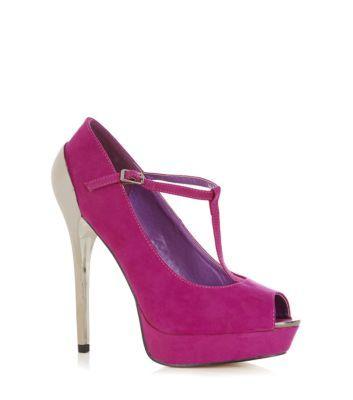 Fuchsia T-Bar Peeptoe Court Shoes