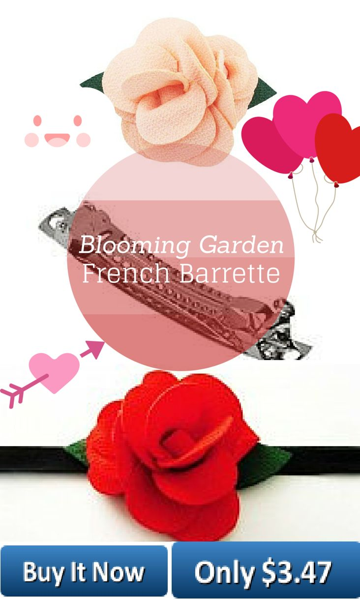 Our Blooming Garden now comes on French Barrettes! Two flowers blooming beside one another with two little leaves peeking out at the edges make this blooming garden unique without overpowering her little head! Total length of the flowers including leaves is 8cm. The width of the widest and slightly larger flower is 5.5 cm. The french barrette is approximately 6 cm in length and 0.5 cm in width. Fits best on 3 years and up. Available in Wine and Peach.