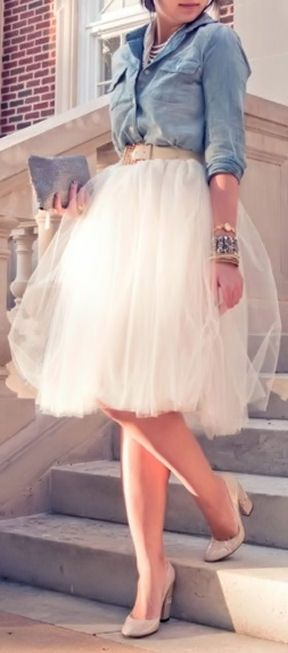 Nude, Chambray + Tulle <3 SO cUte! L.O.V.E. don't think I could pull it off but love it well maybe if I drop 50 pounds