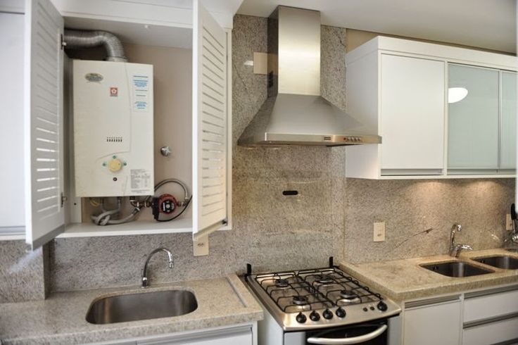 Sabe aqueles aquecedores que a maioria dos apartamentos mais novos tem? Então... normalmente eles ficam bem aparente, juntos com a cozinha....