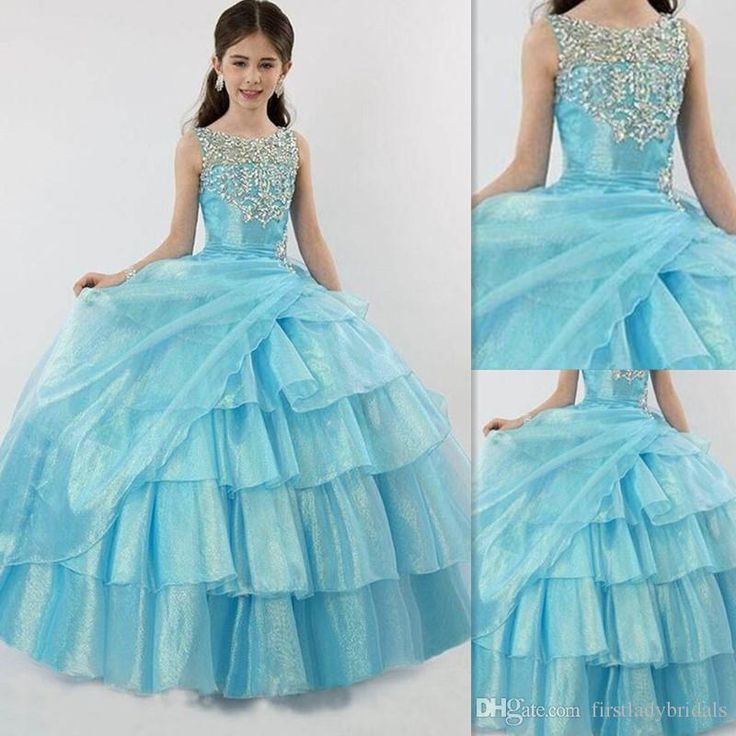 Light Sky Blue Girls Pageant Dress 2016 Sheer Beaded Crew Neck Organza Ruffles Ball Gown Kids Prom Dress Birthday Party Gowns Junior Pageant Dresses Kids Dresses Designs From Firstladybridals, $84.42| Dhgate.Com