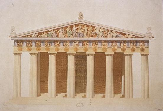 The Parthenon was built entirely of marble and used the Doric style of columns, the most plain in the order.