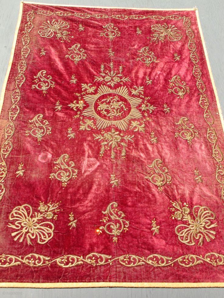 Ottoman metallic embroidery on velvet