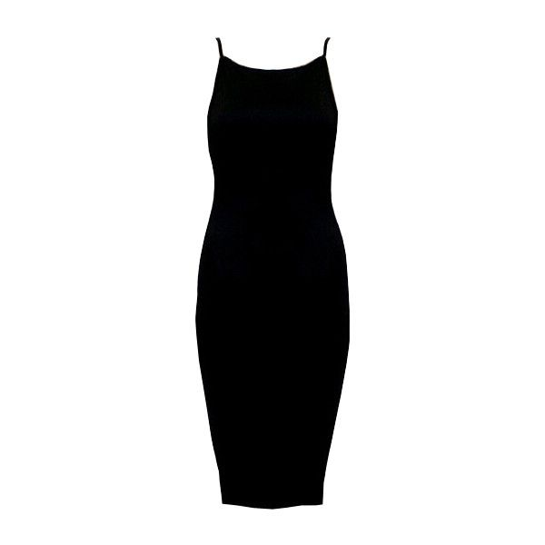 Black Spaghetti Strap Backless Bodycon Dress ($9.90) ❤ liked on Polyvore featuring dresses, vestidos, romwe, black, black cocktail dresses, black sleeveless dress, sleeve maxi dress, black sheath dress and sleeveless maxi dress