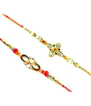 Brand Deals Multicolour Alloy Designer Rakhi Pack Of 2