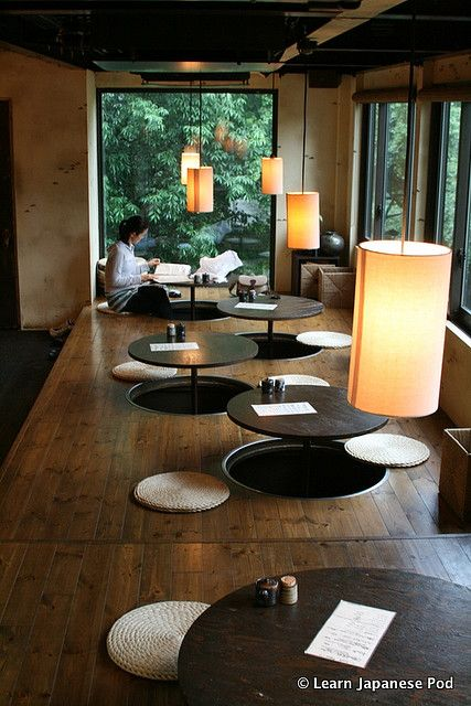 Japanese cafe. I love the table/seating. In my aunt's home we would sit around the table with our feet resting on heated pads that were on the floor under the table!