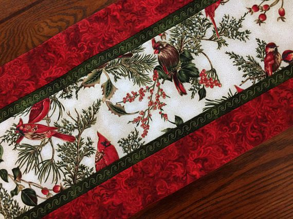 Table Runner Holiday Winter Christmas Birds Cardinals