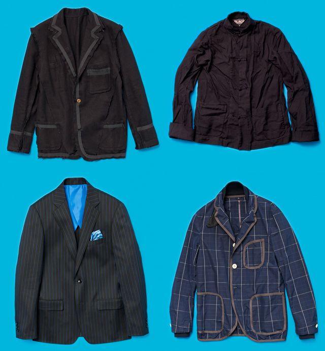 藤原ヒロシ、ドレスコードに階級闘争宣言!|GQ JAPAN 左上はセディショナリーズのオリジナルジャケット、右上は前ページのカットで藤原が着用しているブラック コム デ ギャルソンのチャイナジャケット。ともに本人私物。左下はuniform experiment のスーツのジャケット。ブルー地にネイビーのストライプが映える。胸ポケットにはチーフを内蔵。¥63,000〈uniform experiment / SOPH.tel.03-5775-2290〉 右下はsacaiのジャケット。軽い着心地と絶妙な光沢感はポリエステル×シルクの混紡素材による。¥66,150〈sacai tel.03-6418-5977〉