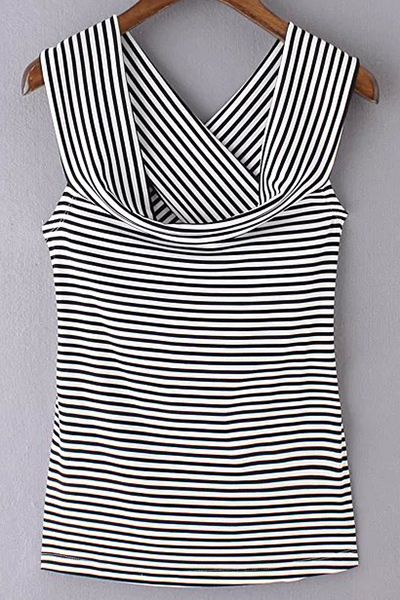Striped Off The Shoulder Back Crossed T-Shirt - I'm a fool for stripes and the draped neck