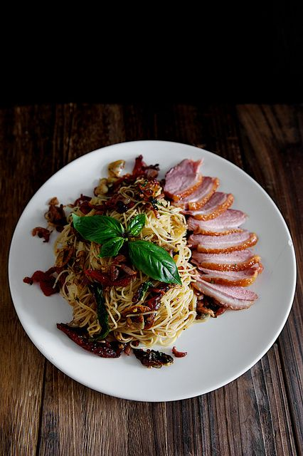 Smoked duck & angel hair pasta (this is my kind of meal to a tee!). #food…