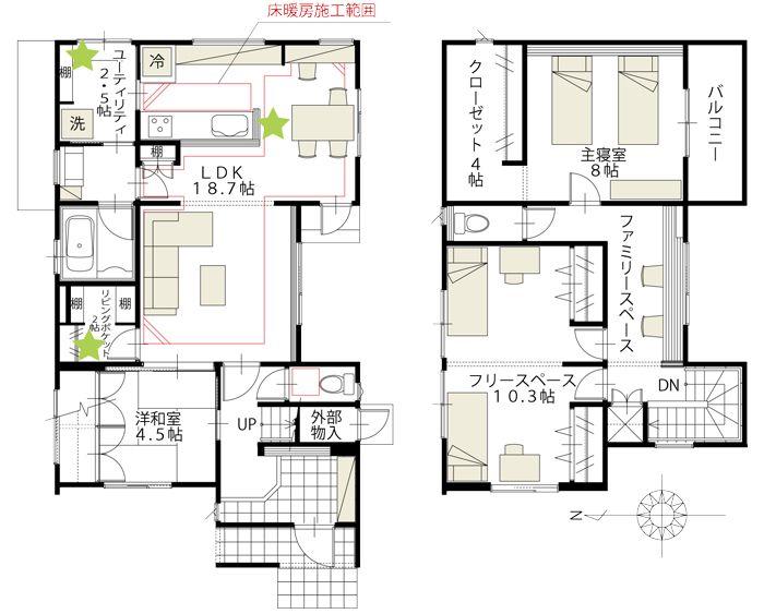 金沢市直江モデルハウス6 富山 石川 福井 新潟のオスカーホーム モデルハウス 間取り 間取り図