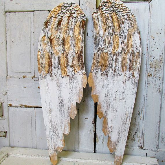Large wooden angel wings wall hanging romantic shabby cottage chic white gold angel wing set distressed w/ rust decor anita spero design
