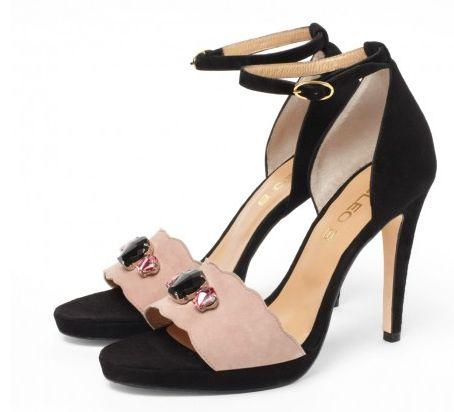 CLEO B 'Pepper' black and nude high-heeled platform sandal with Swarovski shell detailing. #sea #monsters #shoe #collection #beatles #inspiration #black #nude #summer #swarovski #crystal #heels #sandals #fashion #designer #london #pepper