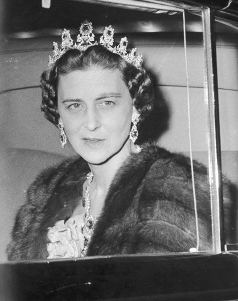 Princess Marina, Duchess of Kent, wearing what looks like an extended version of the Cambridge sapphire tiara, sometime after the early and unexplained death of her husband, Prince George, in 1942. According to the Royal biographer, Hugo Vickers, the Duchess was 'the only war widow in Britain whose estate was forced to pay death duties' and the sale of assets began.