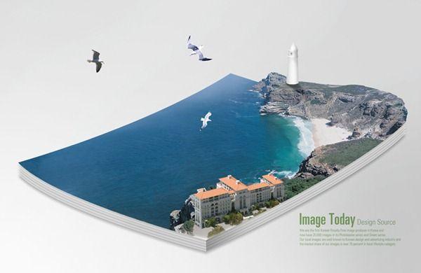 Three-dimensional book Ocean Cover PSD material