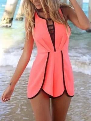 Shop Fluorescent Orange Cut Out Sleeveless Romper Playsuit from choies.com .Free shipping Worldwide.