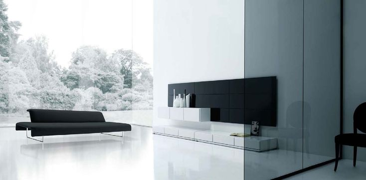 Living Room:Long Black Sofa Excellent And Simple Black Wall Classy Glass Divider White Ceramic Floor Outdoor And Minimalist Living Room