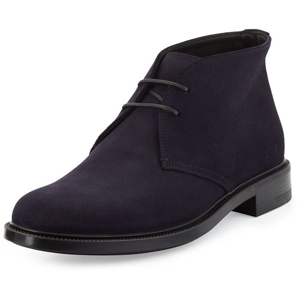 Giorgio Armani Suede Chukka Boot (2.035 BRL) ❤ liked on Polyvore featuring men's fashion, men's shoes, men's boots, blue, mens blue chukka boots, mens suede shoes, mens suede chukka boots, mens round toe cowboy boots and mens blue boots