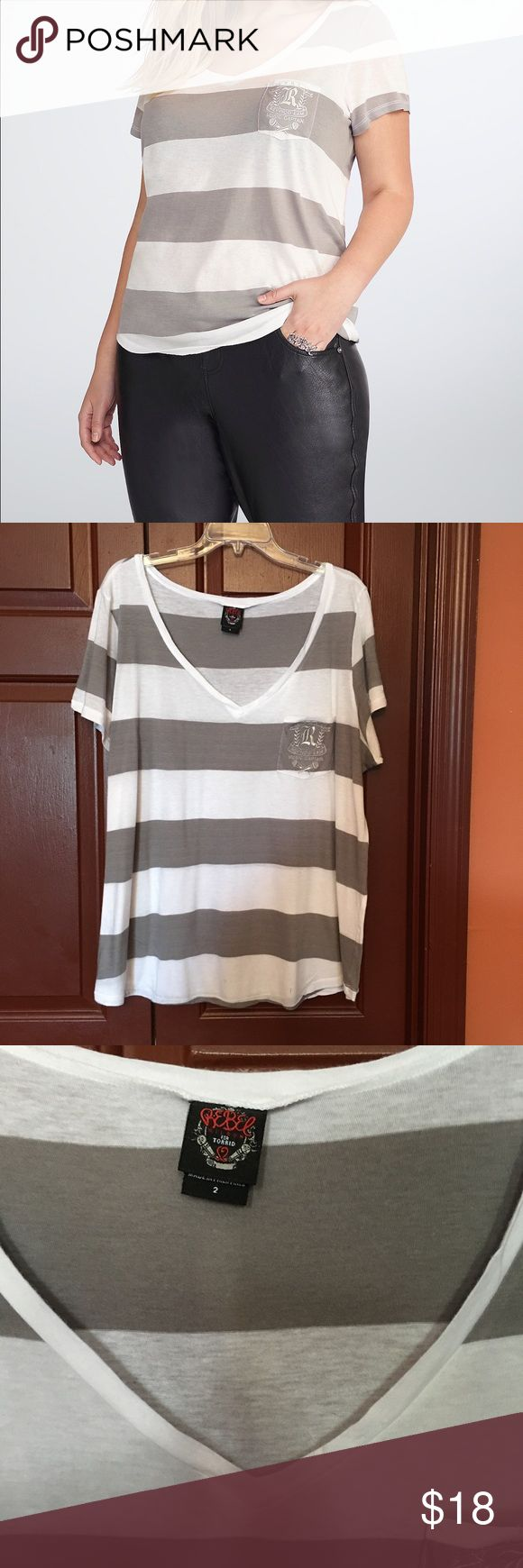 Rebel Wilson striped gray and white tee, 2X Thin lightweight pocket tee, Size 2X, cute gray and white, in very good condition torrid Tops Tees - Short Sleeve