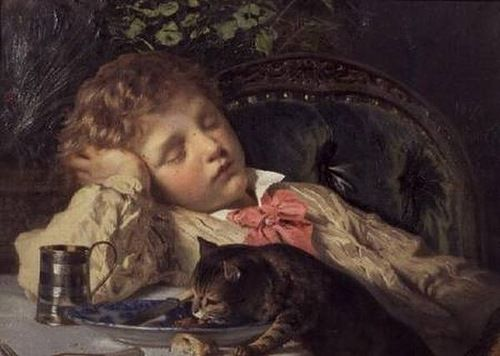 Sophie Gengembre Anderson (1823-1903, British-French) - An Opportune Moment THE GREAT CAT