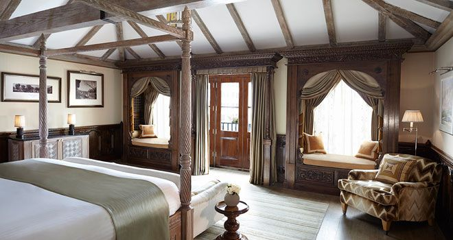 Princes Lodge at the Connaught hotel. Romantically styled bedroom. Perfect for a couples holiday.