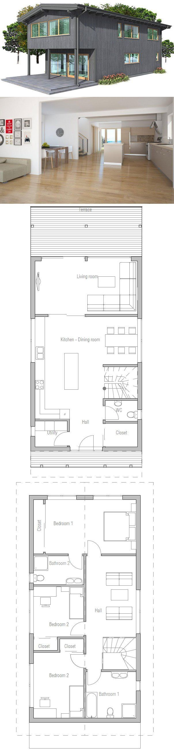 Affordable narrow house to tiny lot. Floor Plan from ConceptHome.com