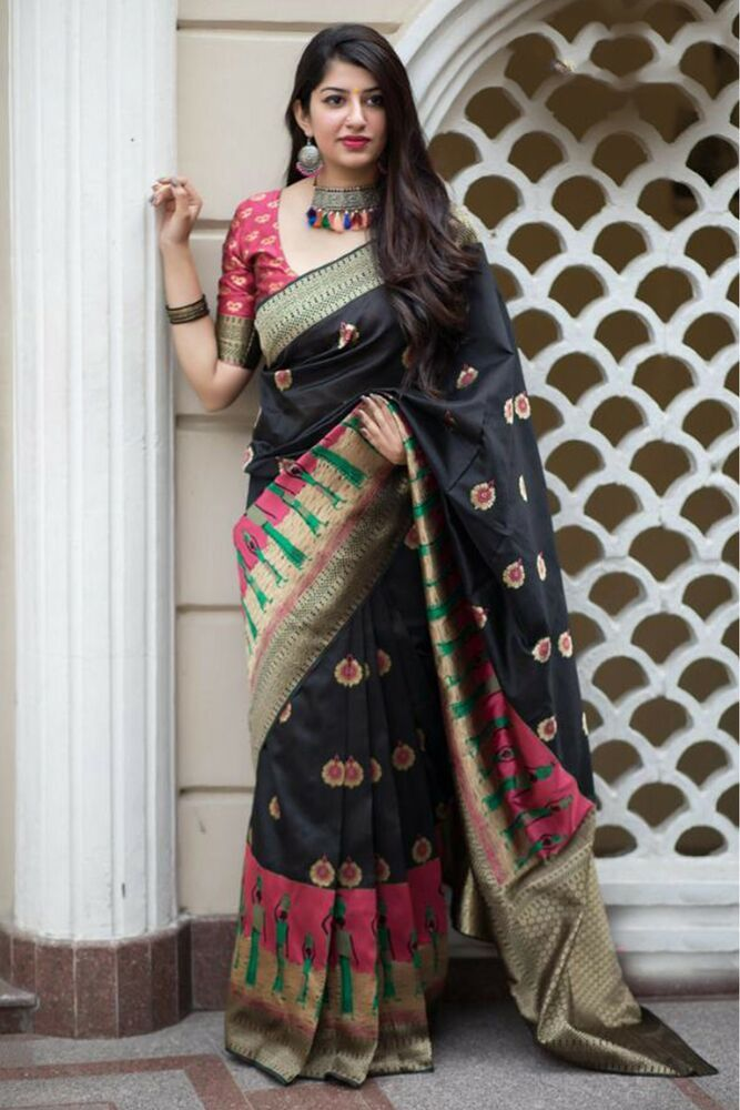 818b77eb91 Indian Ethnic Style Banarasi Weaving Silk Saree In Black Color With Blouse  SS. PRODUCT Designer Saree. of an ethnic array of Indian clothing for  almost many ...
