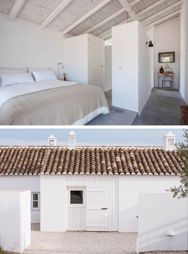 White washed hotel in Portugal - love the tiles and the ceiling