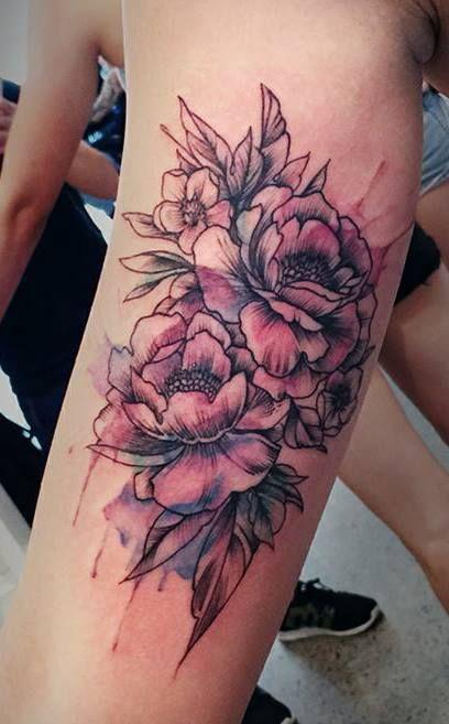 Chronic Ink Tattoo - Toronto Tattoo  Watercolour peonies tattoo done by Karen.