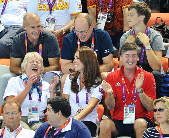 Kate, Prince Albert and companions having a laugh at the Olympics
