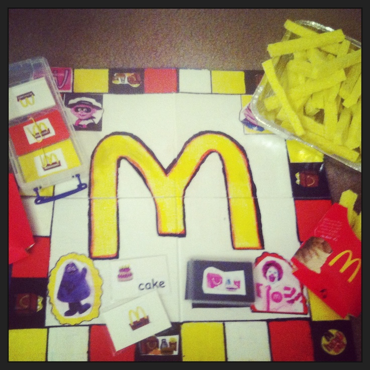 Homemade McDonald's Game Board. Cut Up Sponges As French
