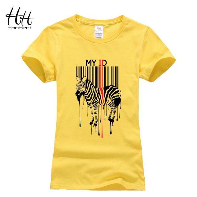 HanHent Femmes T-shirt Zèbre Bar Code Conception T-shirts Butin 2016 été Nouveau Drôle De Mode Décontractée à Rayures 3D Animal Cheval T chemises