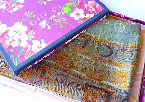 GUCCI Large Silk Scarf Authentic Vintage Very Large Gucci