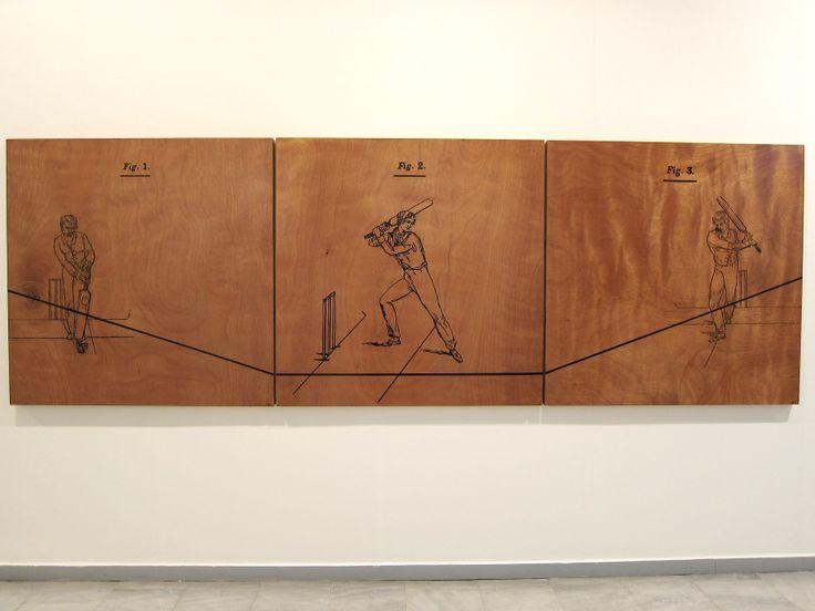 "Nikos Papadimitriou ""cricket manual triptych"" acrylics on plywood © 2012."