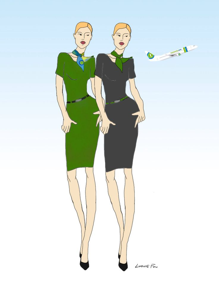 Design concept for transavia.com's upcoming new cabin crew uniforms. Two color variations on ladies' short sleeved dress.