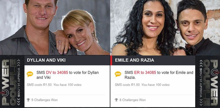 """To vote for your favourite couple and the ultimate winners of Power Couple SA, SMS """"DV"""" for Dyllan and Viki or """"ER"""" for Emile and Razia to 3405. You can also vote via WeChat. Follow the MNetTV ID and select Dyllan & Viki OR Emile & Razia. Each individual has 100 chances to vote on either platform."""