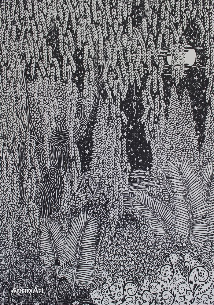 Detailed black and white drawing of a willow tree and ferns. Starry night time forest moon illustration. Art by AnnixArt.