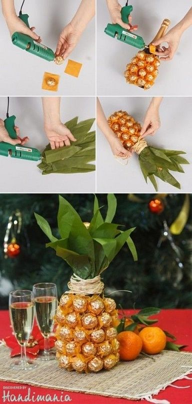 Pineapple gift idea w/chocolates and champagne